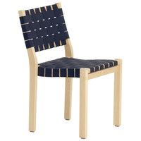 Artek Aalto tuoli 611, koivu - musta/sininen satulavyö