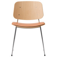 Fredericia Søborg tuoli 3061, kromattu runko, lakattu tammi - ruskea nahka
