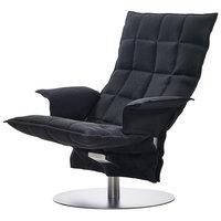 Woodnotes K tuoli käsinojilla, pyörivä, musta
