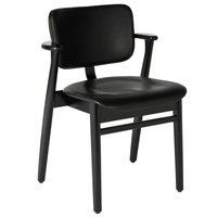 Artek Domus tuoli, mustaksi petsattu koivu - musta nahka