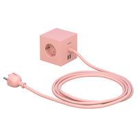 Avolt Square 1 USB jatkojohto, vaaleanpunainen