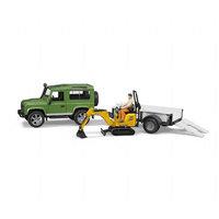 Land Rover Defender perävaunulla ja minikaivurilla (Bruder 2593)
