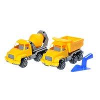 Plaston työmaasetti - kuorma-auto, betoniauto ja muurauslasta.