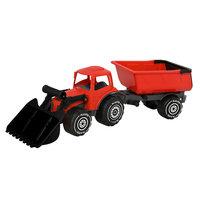 Plasto traktori etukauhalla ja peräkärryllä