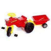 Polkutraktori ja perävaunu, punainen, Plasto online