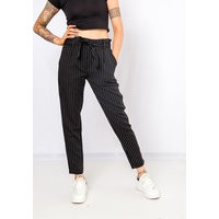 Pinstriped High Tied Up Pants In Black, Shako