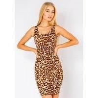 Leopard Print Bodycon Dress In Beige, Beauty Fashion