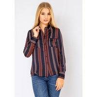 Long Sleeve Button Up Wavy Shirt In Navy, Fiorellashop