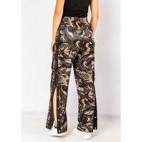 Fiorebel Button Up Joggers In Camo Green, Fiorellashop