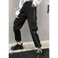 Ankle High Waist Patchwork Cargo Pants, Fiorellashop