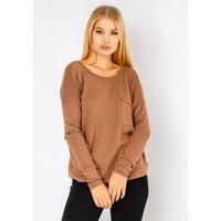 Long Sleeve Loose Knit Jumper In Brown, Fiorellashop
