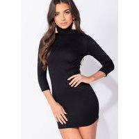 Knit Rib Polo Neck Bodycon Mini Dress Black, Parisian
